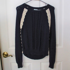 Kimchi Blue Navy Sweater with Lace Trim